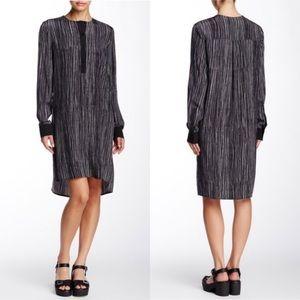 Vince Wavy Stripe Printed Silk Shirt Dress